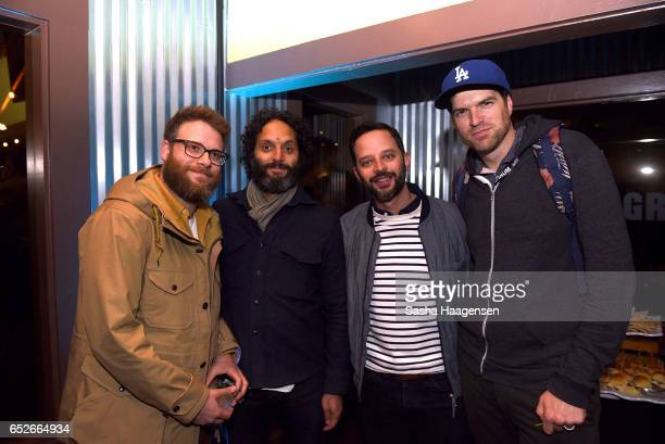 Actors Seth Rogen Jason Manzoukas Nick Kroll and Timothy Simons attend Fast Company's prereception for a screening of 'The Disaster Artist' at the FC...