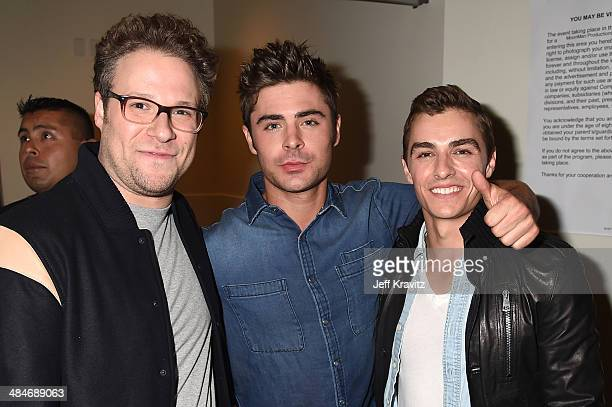 Actors Seth Rogen Zac Efron and Dave Franco attend the 2014 MTV Movie Awards at Nokia Theatre LA Live on April 13 2014 in Los Angeles California