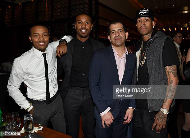 Actors Shad Moss Michael B Jordan GM Showtime Sports and Event Programming Stephen Espinoza and former NBA player Allen Iverson attend the SHOWTIME...