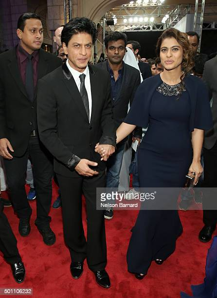 Actors Shah Rukh Khan and Kajol Devgan attend 'The Clan' premiere during day four of the 12th annual Dubai International Film Festival held at the...
