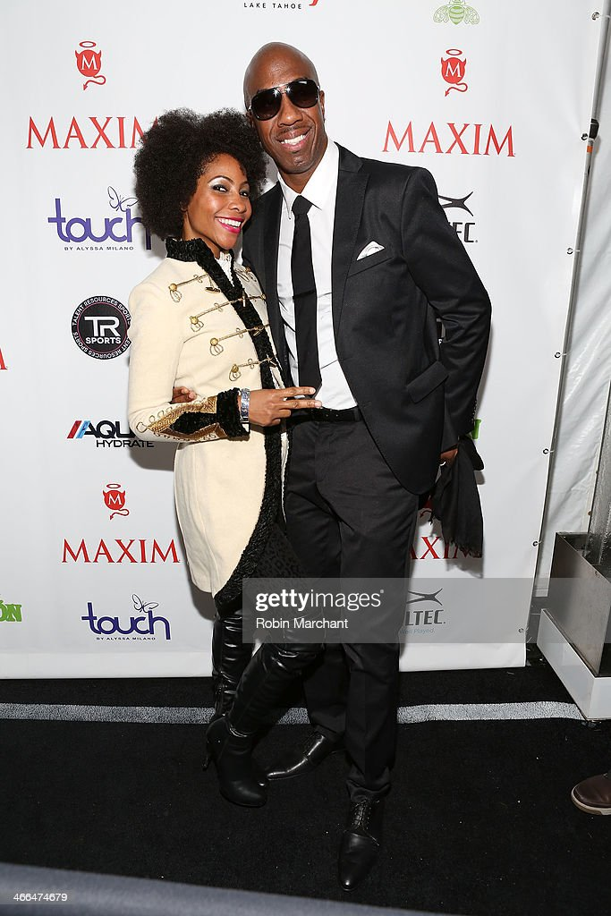 Actors Shahidah Omar and J. B. Smoove attend Talent Resources Sports presents MAXIM 'BIG GAME WEEKEND' sponsored by AQUAhydrat, Heavenly Resorts, Wonderful Pistachios, Touch by Alyssa Milano, and Philippe Chow on February 1, 2014 in New York City.