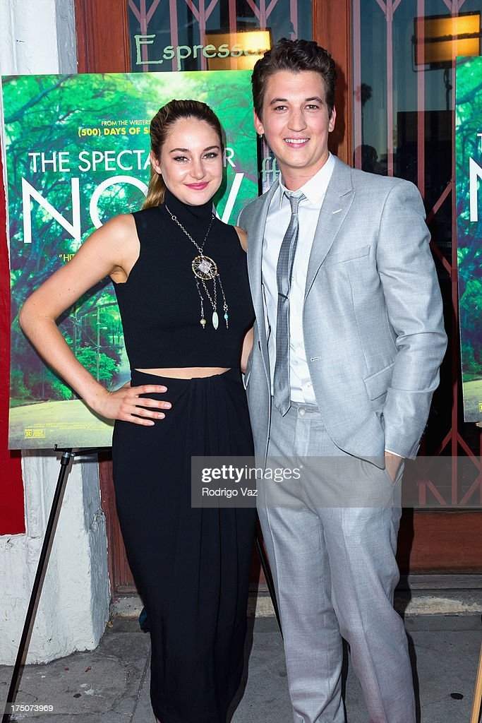 Actors Shailene Woodley (L) and Miles Teller arrive at 'The Spectacular Now' - Los Angeles Special Screening at the Vista Theatre on July 30, 2013 in Los Angeles, California.