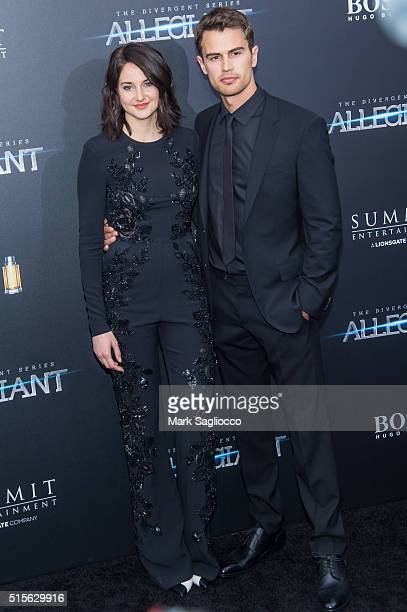 Actors Shailene Woodley and Theo James attend the 'Allegiant' New York Premiere at AMC Loews Lincoln Square 13 theater on March 14 2016 in New York...