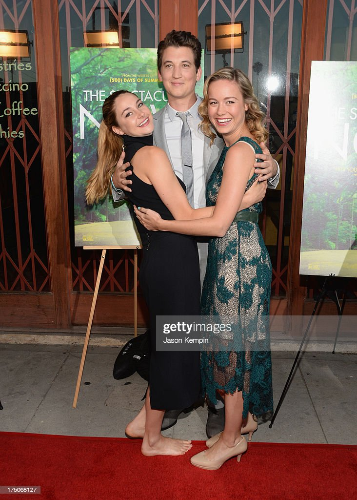 Actors <a gi-track='captionPersonalityLinkClicked' href=/galleries/search?phrase=Shailene+Woodley&family=editorial&specificpeople=676833 ng-click='$event.stopPropagation()'>Shailene Woodley</a>, <a gi-track='captionPersonalityLinkClicked' href=/galleries/search?phrase=Miles+Teller&family=editorial&specificpeople=6471673 ng-click='$event.stopPropagation()'>Miles Teller</a> and <a gi-track='captionPersonalityLinkClicked' href=/galleries/search?phrase=Brie+Larson&family=editorial&specificpeople=171226 ng-click='$event.stopPropagation()'>Brie Larson</a> attend the screening of A24's 'The Spectacular Now' at the Vista Theatre on July 30, 2013 in Los Angeles, California.