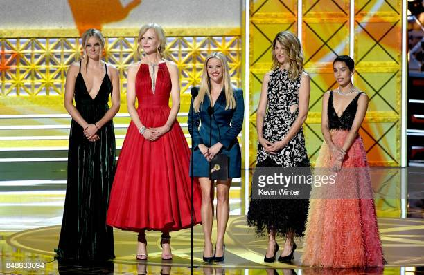 Actors Shailene Woodley Nicole Kidman Reese Witherspoon Laura Dern and Zoe Kravitz speak onstage during the 69th Annual Primetime Emmy Awards at...