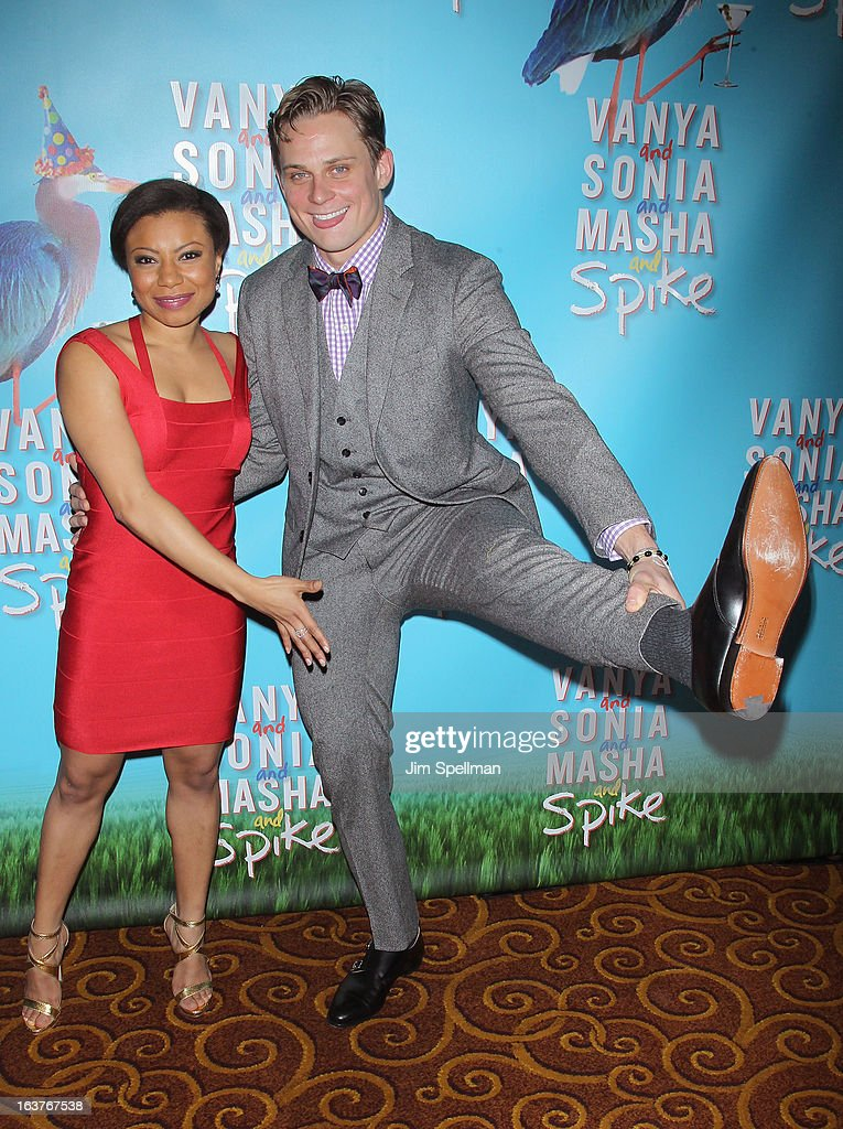 Actors Shalita Grant and <a gi-track='captionPersonalityLinkClicked' href=/galleries/search?phrase=Billy+Magnussen&family=editorial&specificpeople=5408596 ng-click='$event.stopPropagation()'>Billy Magnussen</a> attend the after party for 'Vanya And Sonia And Masha And Spike' Broadway opening night at Gotham Hall on March 14, 2013 in New York City.
