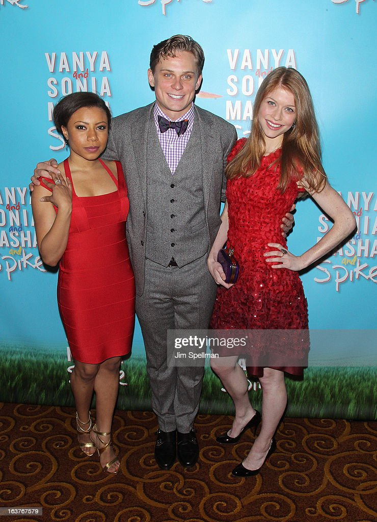 Actors Shalita Grant, <a gi-track='captionPersonalityLinkClicked' href=/galleries/search?phrase=Billy+Magnussen&family=editorial&specificpeople=5408596 ng-click='$event.stopPropagation()'>Billy Magnussen</a> and Genevieve Angelson attend the after party for 'Vanya And Sonia And Masha And Spike' Broadway opening night at Gotham Hall on March 14, 2013 in New York City.