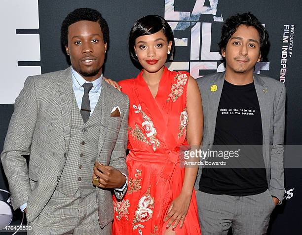 Actors Shameik Moore Kiersey Clemons and Tony Revolori attend the Los Angeles premiere of 'Dope' in partnership with the Los Angeles Film Festival at...