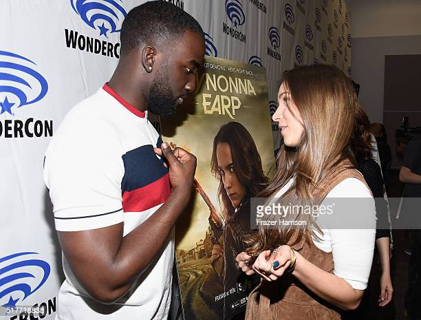 Actors Shamier Anderson and Dominique ProvostChalkley attend the Wynonna Earp panel at WonderCon 2016 Day 2 at Los Angeles Convention Center on March...