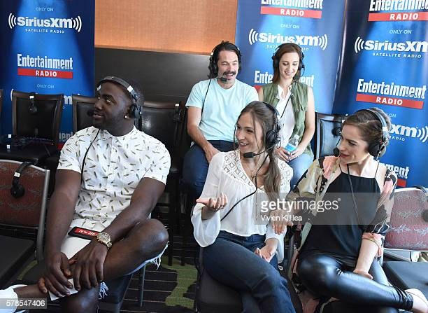 Actors Shamier Anderson and Michael Eklund and actresses Katherine Barrell Dominique ProvostChalkley and Melanie Scrofano attend SiriusXM's...