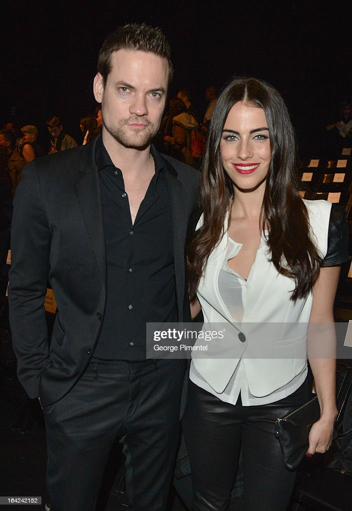 Actors <a gi-track='captionPersonalityLinkClicked' href=/galleries/search?phrase=Shane+West&family=editorial&specificpeople=223968 ng-click='$event.stopPropagation()'>Shane West</a> and <a gi-track='captionPersonalityLinkClicked' href=/galleries/search?phrase=Jessica+Lowndes&family=editorial&specificpeople=3960270 ng-click='$event.stopPropagation()'>Jessica Lowndes</a> attend World MasterCard Fashion Week Fall 2013 at David Pecaut Square on March 21, 2013 in Toronto, Canada.