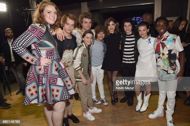 Actors Shannon Purser Charlie Heaton Noah Schnapp Joe Keery Gaten Matarazzo Natalia Dyer Finn Wolfhard Millie Bobby Brown and Caleb McLaughlin attend...