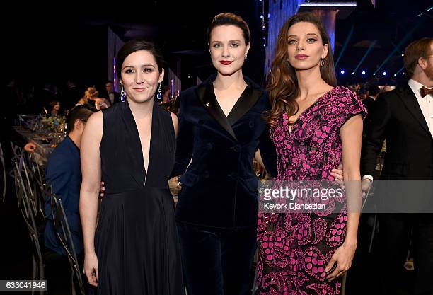 Actors Shannon Woodward Evan Rachel Wood and Angela Sarafyan attend the 23rd Annual Screen Actors Guild Awards Cocktail Reception at The Shrine Expo...