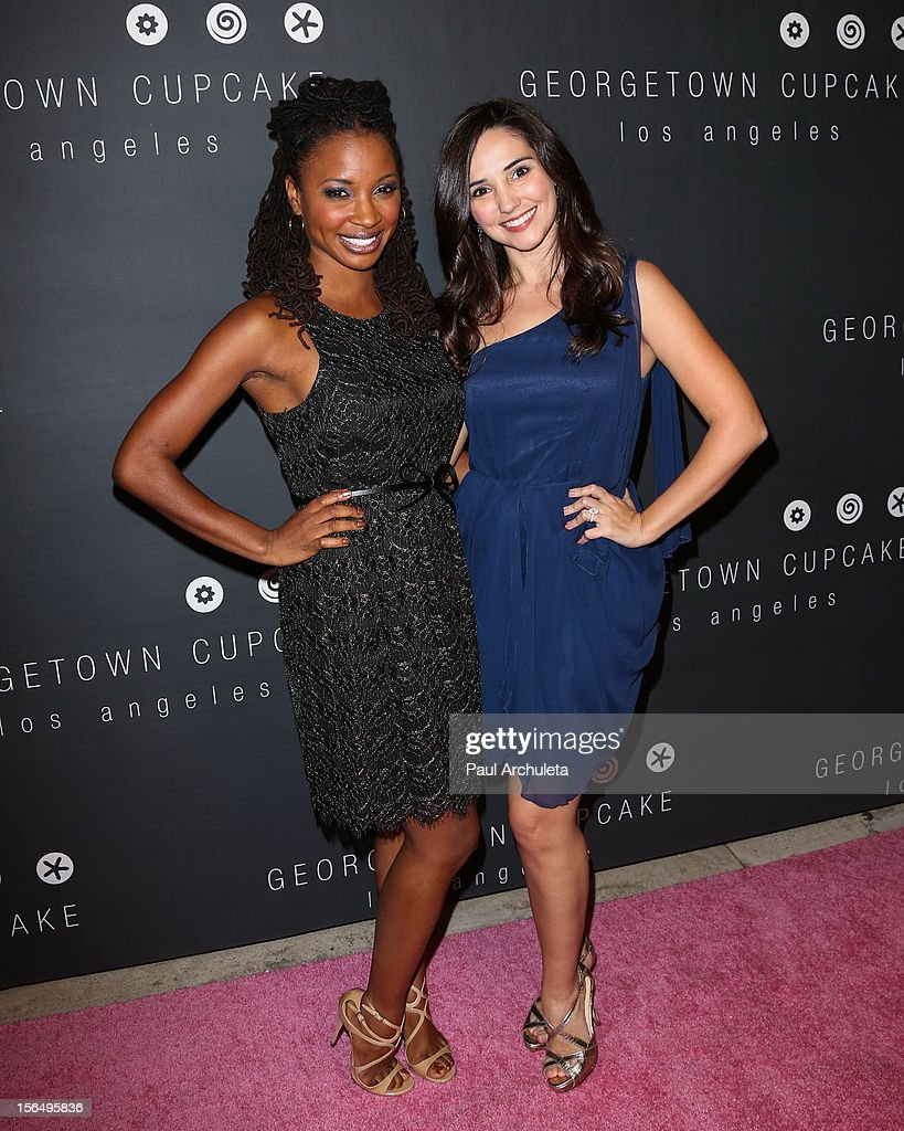 Actors Shanola Hampton (L) and <a gi-track='captionPersonalityLinkClicked' href=/galleries/search?phrase=Laura+Breckenridge&family=editorial&specificpeople=833947 ng-click='$event.stopPropagation()'>Laura Breckenridge</a> (R) attend the Georgetown Cupcakes Los Angeles grand opening at Georgetown Cupcake Los Angeles on November 15, 2012 in Los Angeles, California.