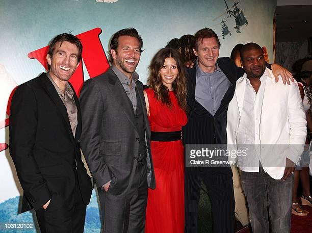 Actors Sharlto Copey Bradley Cooper Jessica Biel Liam Neeson and Quinton 'Rampage' Jackson attend the UK Film Premiere of 'The ATeam' at Empire...