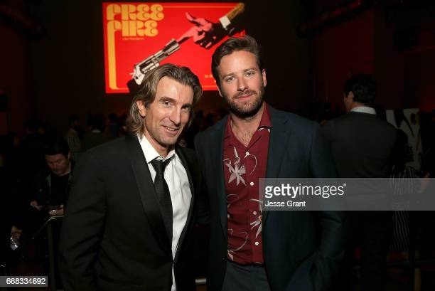 Actors Sharlto Copley and Armie Hammer attend the premiere of A24's 'Free Fire' after party on April 13 2017 in Los Angeles California