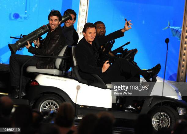 Actors Sharlto Copley Bradley Cooper Liam Neeson and Quinton Jackson onstage during Spike TV's 4th Annual 'Guys Choice Awards' held at Sony Studios...