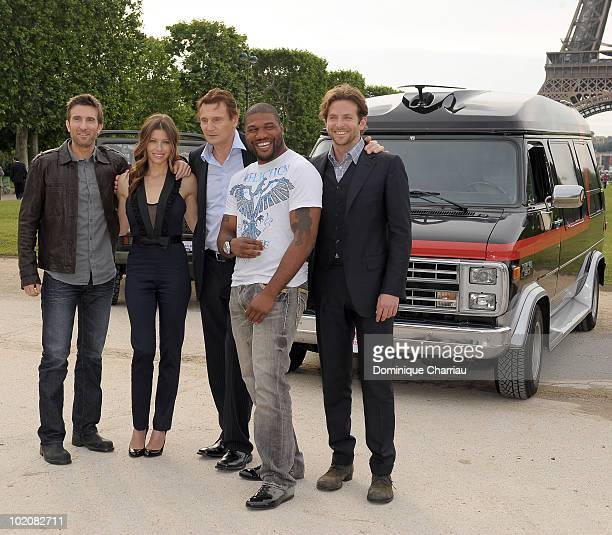 Actors Sharlto Copley Jessica Biel Liam Neeson Quinton 'Rampage' Jackson and Bradley Cooper pose during the 'L'agence Tous Risques' Paris Photocall...