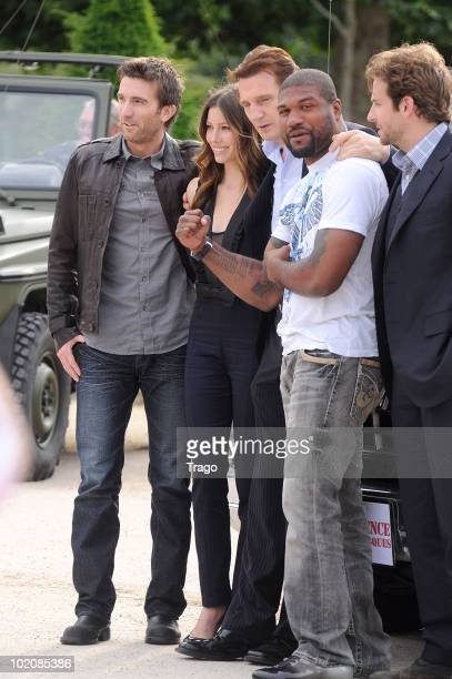 Actors Sharlto Copley Jessica Biel Liam Neeson Quinton 'Rampage' Jackson and Bradley Cooper attend a photocall for the Joe Carnahan's film 'L'agence...