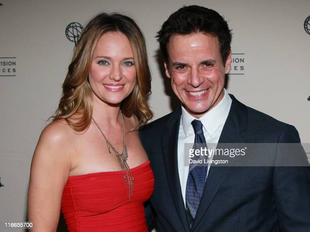 Actors Sharon Case and Christian LeBlanc attend the 2011 Daytime Emmy Awards nominees cocktail reception at SLS Hotel Beverly Hills on June 16 2011...