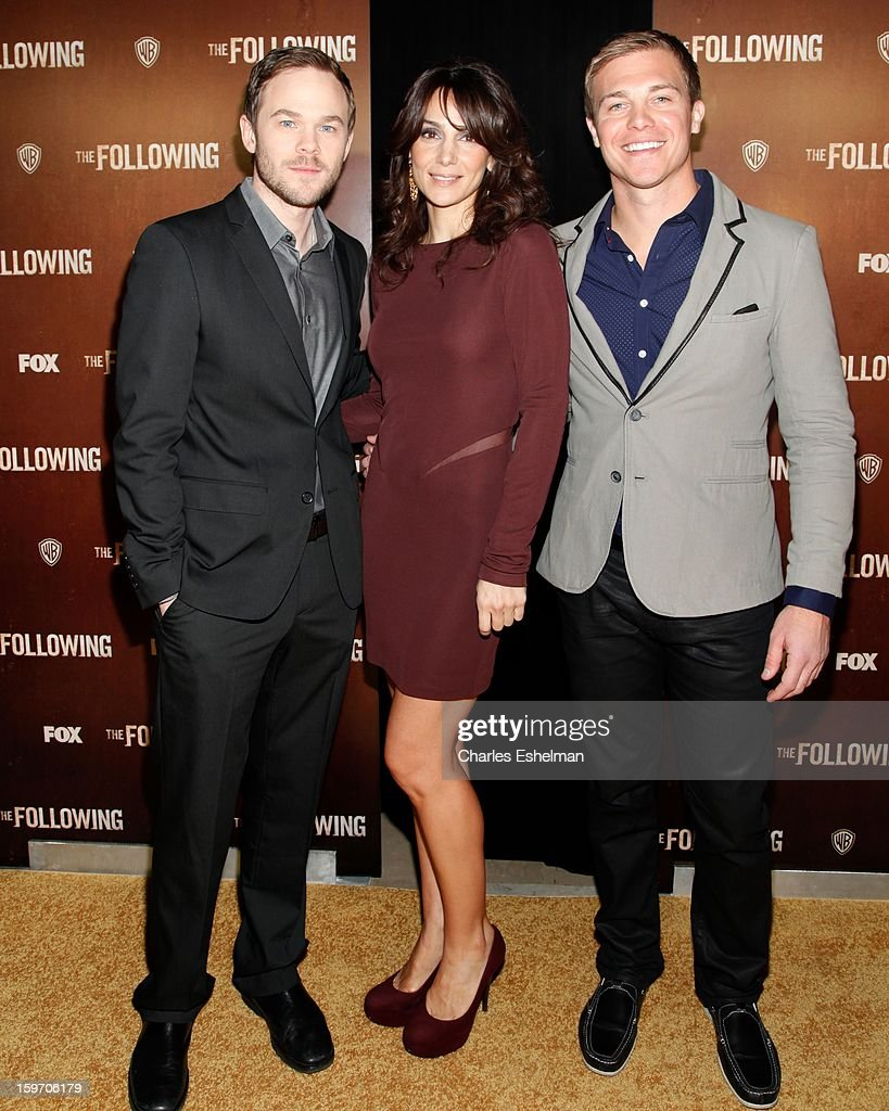 Actors Shawn Ashmore, Annie Parisse and Michael Roark attend 'The Following' premiere at The New York Public Library on January 18, 2013 in New York City.