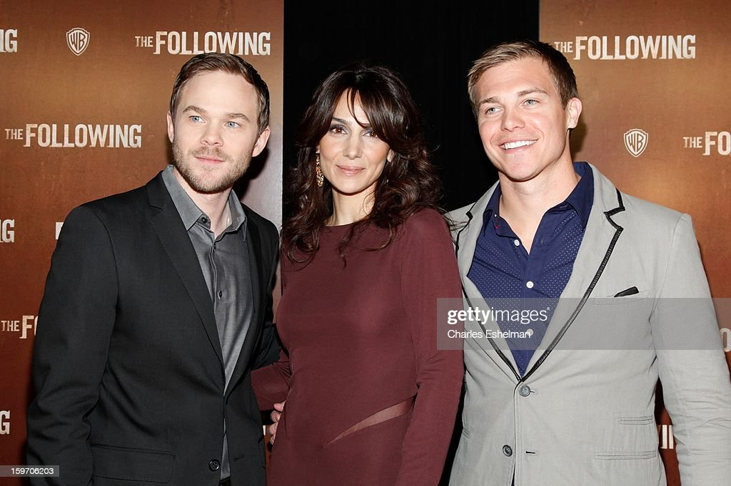 Actors <a gi-track='captionPersonalityLinkClicked' href=/galleries/search?phrase=Shawn+Ashmore&family=editorial&specificpeople=229029 ng-click='$event.stopPropagation()'>Shawn Ashmore</a>, <a gi-track='captionPersonalityLinkClicked' href=/galleries/search?phrase=Annie+Parisse&family=editorial&specificpeople=224561 ng-click='$event.stopPropagation()'>Annie Parisse</a> and Michael Roark attend 'The Following' premiere at The New York Public Library on January 18, 2013 in New York City.