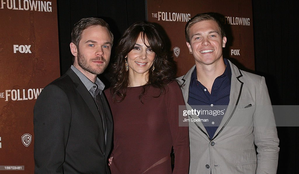 Actors <a gi-track='captionPersonalityLinkClicked' href=/galleries/search?phrase=Shawn+Ashmore&family=editorial&specificpeople=229029 ng-click='$event.stopPropagation()'>Shawn Ashmore</a>, <a gi-track='captionPersonalityLinkClicked' href=/galleries/search?phrase=Annie+Parisse&family=editorial&specificpeople=224561 ng-click='$event.stopPropagation()'>Annie Parisse</a> and Michael Roark attends 'The Following' New York Premiere at New York Public Library - Astor Hall on January 18, 2013 in New York City.