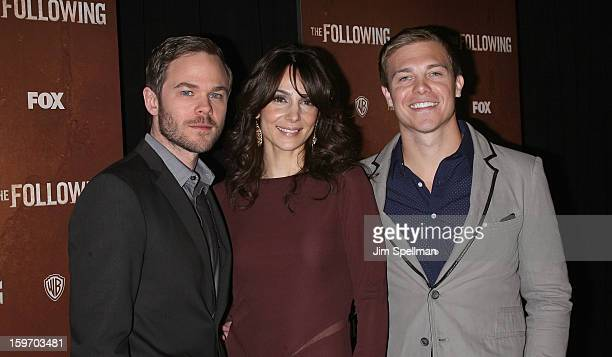 Actors Shawn Ashmore Annie Parisse and Michael Roark attends 'The Following' New York Premiere at New York Public Library Astor Hall on January 18...