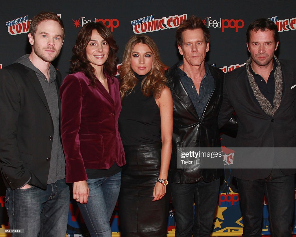 Actors <a gi-track='captionPersonalityLinkClicked' href=/galleries/search?phrase=Shawn+Ashmore&family=editorial&specificpeople=229029 ng-click='$event.stopPropagation()'>Shawn Ashmore</a>, <a gi-track='captionPersonalityLinkClicked' href=/galleries/search?phrase=Annie+Parisse&family=editorial&specificpeople=224561 ng-click='$event.stopPropagation()'>Annie Parisse</a>, <a gi-track='captionPersonalityLinkClicked' href=/galleries/search?phrase=Natalie+Zea&family=editorial&specificpeople=242853 ng-click='$event.stopPropagation()'>Natalie Zea</a>, <a gi-track='captionPersonalityLinkClicked' href=/galleries/search?phrase=Kevin+Bacon&family=editorial&specificpeople=202000 ng-click='$event.stopPropagation()'>Kevin Bacon</a>, and <a gi-track='captionPersonalityLinkClicked' href=/galleries/search?phrase=James+Purefoy&family=editorial&specificpeople=208228 ng-click='$event.stopPropagation()'>James Purefoy</a> of 'The Following' attend the 2012 New York Comic Con at the Javits Center on October 14, 2012 in New York City.