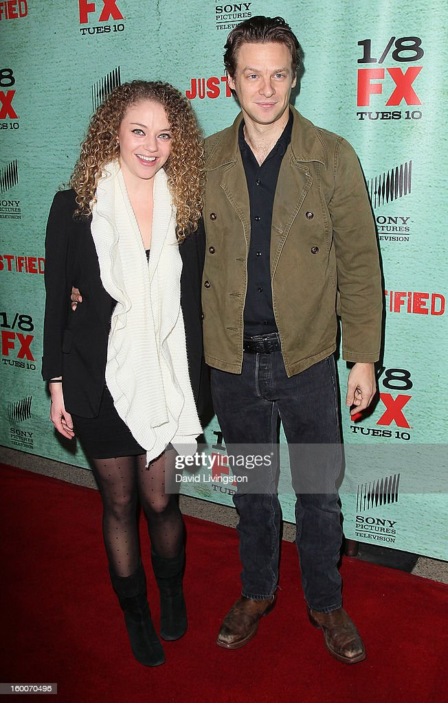 Actors Shelby Malone (L) and Jacob Pitts attends the premiere of FX's 'Justified' Season 4 at the Paramount Theater on the Paramount Studios lot on January 5, 2013 in Hollywood, California.