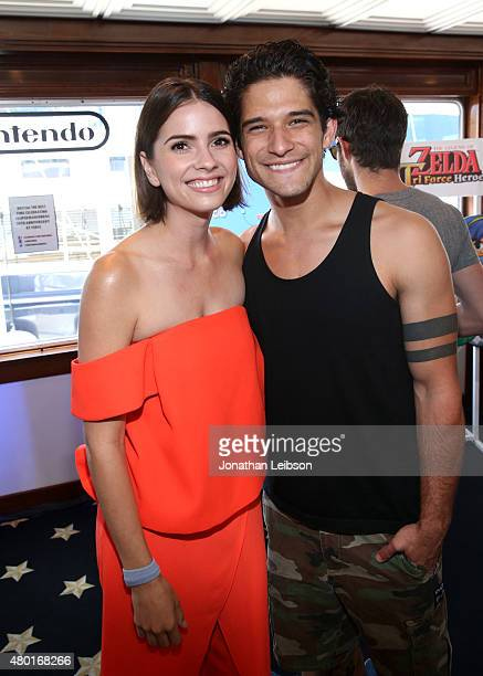 Actors Shelley Hennig and Tyler Posey attend The Nintendo Lounge on the TV Guide Magazine yacht during ComicCon International 2015 on July 9 2015 in...