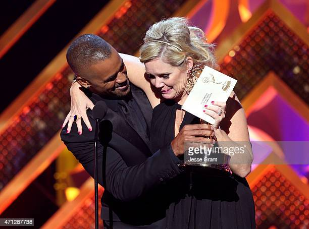 Actors Shemar Moore and Maura West accepts Outstanding Lead Actress in a Drama Series for 'General Hospital' onstage during The 42nd Annual Daytime...