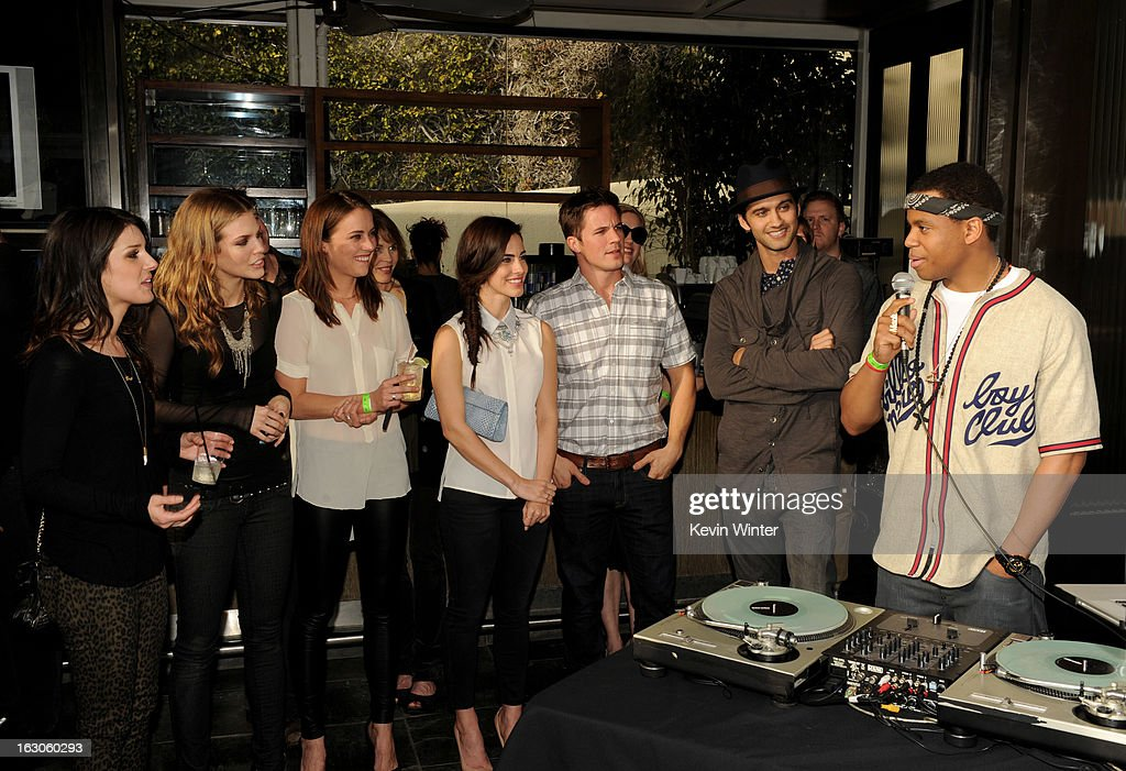 Actors Shenae Grimes, AnnaLynne McCord, Jessica Stroup, Jessica Lowndes, Matt Lanter, Michael Steger and Tristan Wilds appear at the CW Network's '90210' Season 5 Wrap Party on March 3, 2013 in Los Angeles, California.