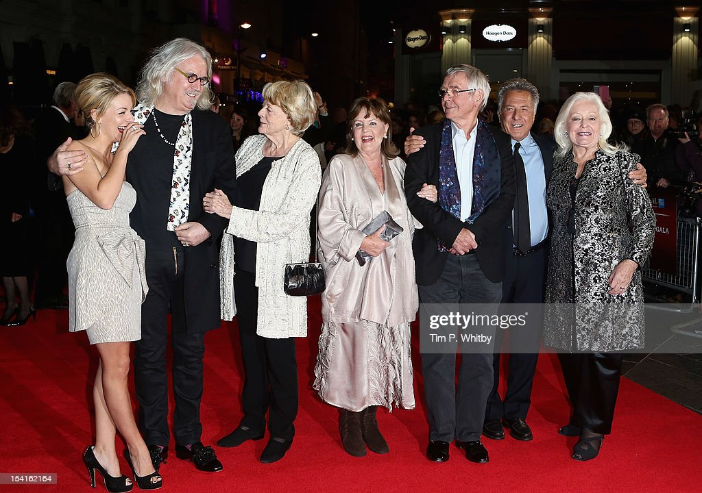 Actors Sheridan Smith, Billy Connolly, Maggie Smith, Pauline Collins, Tom Courtenay and director Dustin Hoffman attend the 'Quartet' premiere during the 56th BFI London Film Festival at the Odeon Leicester Square on October 15, 2012 in London, England.