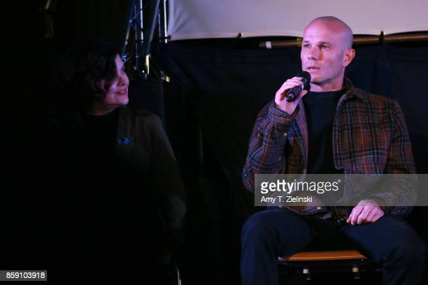 Actors Sherilyn Fenn and James Marshall answer questions on stage during the Twin Peaks UK Festival 2017 at Hornsey Town Hall Arts Centre on October...