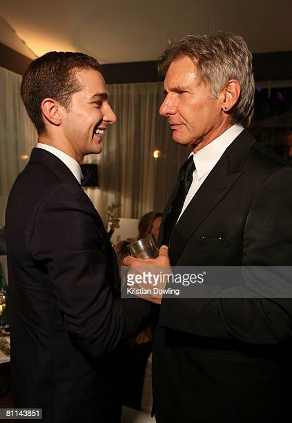 Actors Shia LaBeouf and Harrison Ford attend the 'Indiana Jones and the Kingdom of the Crystal Skull' party during the 61st Cannes Film Festival on...