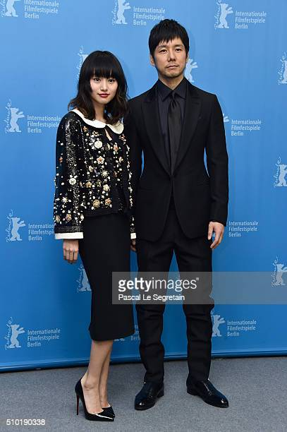 Actors Shiori Kutsuna and Hidetoshi Nishijima attend the 'While the Women Are Sleeping' photo call during the 66th Berlinale International Film...