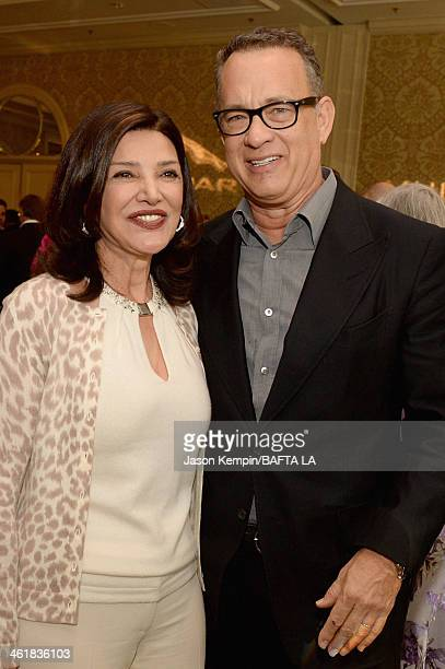 Actors Shohreh Aghdashloo and Tom Hanks attend the BAFTA LA 2014 Awards Season Tea Party at the Four Seasons Hotel Los Angeles at Beverly Hills on...