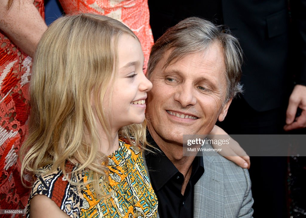 Actors Shree Crooks (L) and Viggo Mortensen attend the premiere of Bleecker Street Media's 'Captain Fantastic' at Harmony Gold on June 28, 2016 in Los Angeles, California.