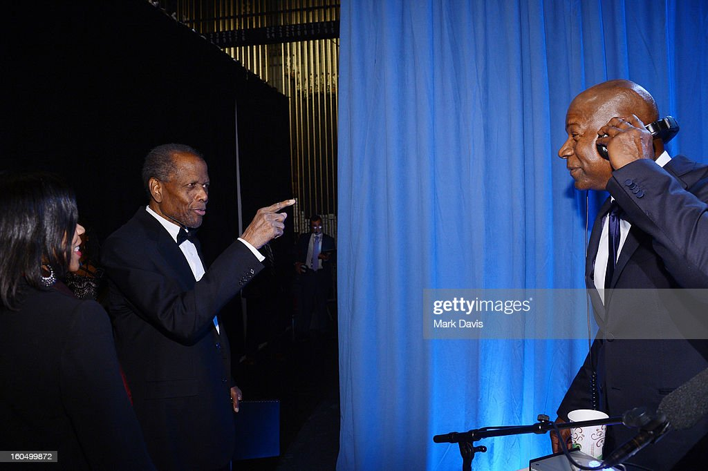 Actors Sidney Poitier and Dennis Haysbert attend the 44th NAACP Image Awards at The Shrine Auditorium on February 1, 2013 in Los Angeles, California.