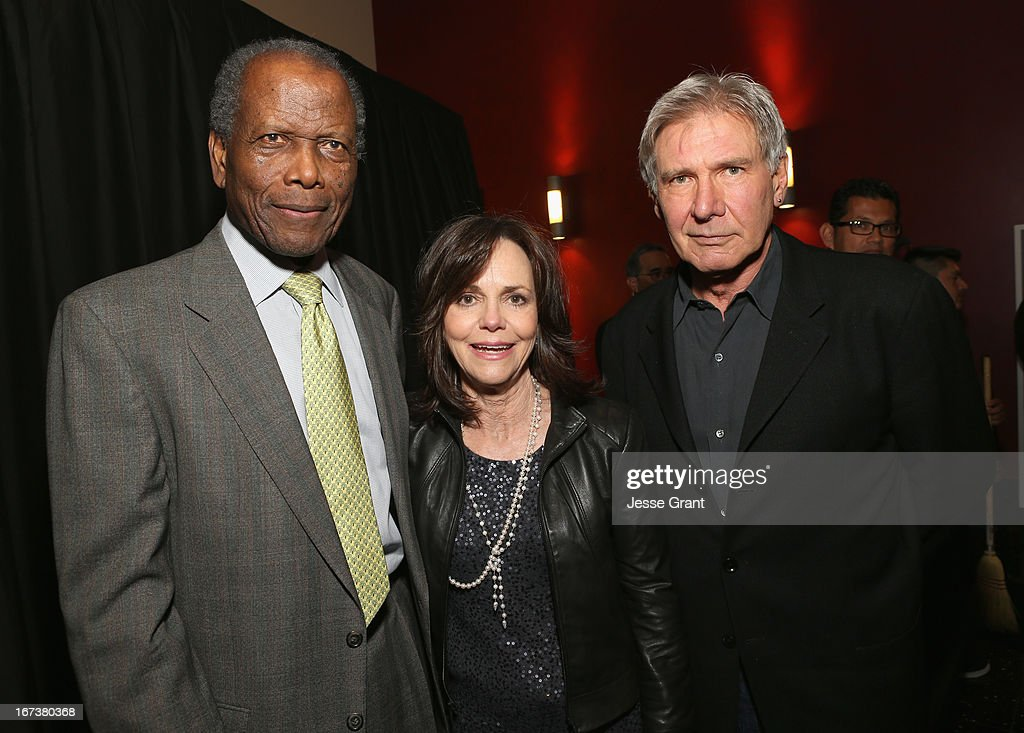 Actors <a gi-track='captionPersonalityLinkClicked' href=/galleries/search?phrase=Sidney+Poitier&family=editorial&specificpeople=94086 ng-click='$event.stopPropagation()'>Sidney Poitier</a>, <a gi-track='captionPersonalityLinkClicked' href=/galleries/search?phrase=Sally+Field&family=editorial&specificpeople=206350 ng-click='$event.stopPropagation()'>Sally Field</a> and <a gi-track='captionPersonalityLinkClicked' href=/galleries/search?phrase=Harrison+Ford+-+Actor+-+Nacido+en+1942&family=editorial&specificpeople=11508906 ng-click='$event.stopPropagation()'>Harrison Ford</a> attend Target Presents AFI's Night at the Movies at ArcLight Cinemas on April 24, 2013 in Hollywood, California.