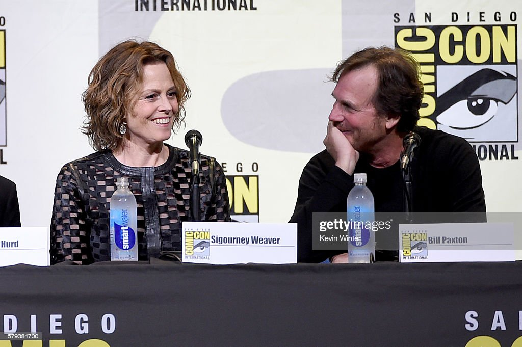Actors Sigourney Weaver (L) and Bill Paxton attend the 'Aliens: 30th Anniversary' panel during Comic-Con International 2016 at San Diego Convention Center on July 23, 2016 in San Diego, California.