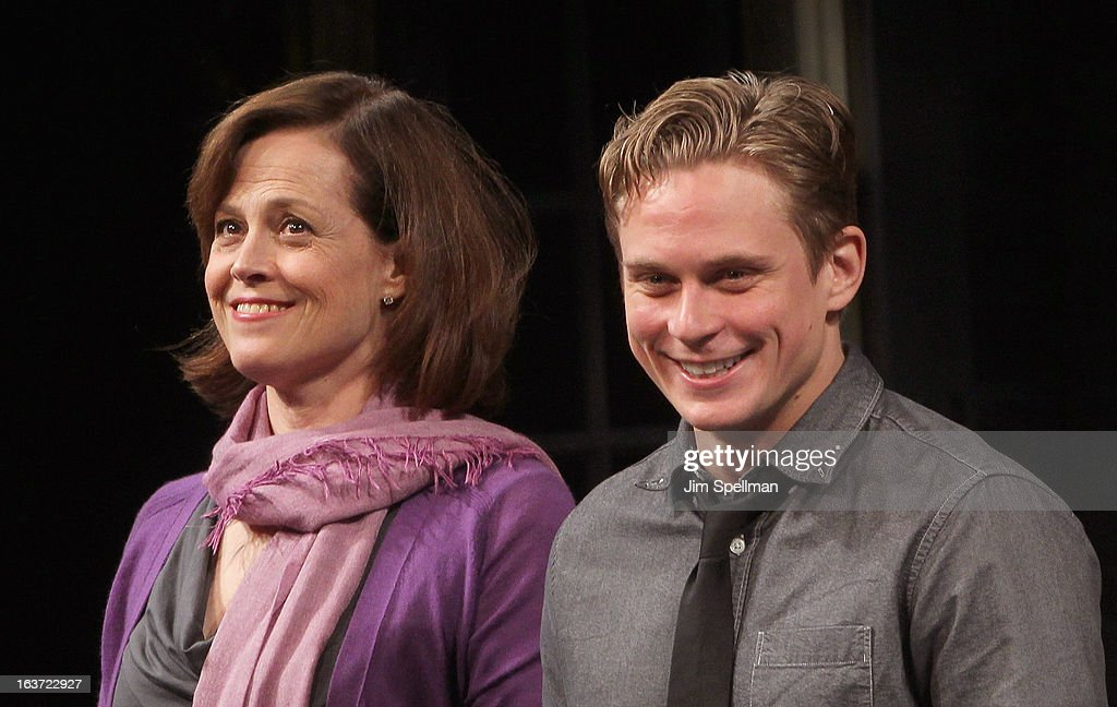 Actors Sigourney Weaver and Billy Magnussen attend the 'Vanya And Sonia And Masha And Spike' Broadway opening night at The Golden Theatre on March 14, 2013 in New York City.