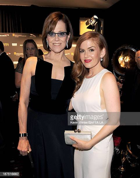 Actors Sigourney Weaver and Isla Fisher attend the 2013 BAFTA LA Jaguar Britannia Awards presented by BBC America at The Beverly Hilton Hotel on...