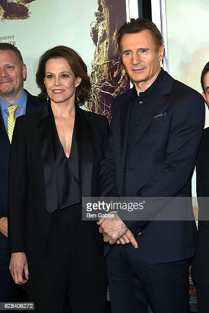 Actors Sigourney Weaver and Liam Neeson attend 'A Monster Calls' New York Premiere at AMC Loews Lincoln Square 13 theater on December 7 2016 in New...