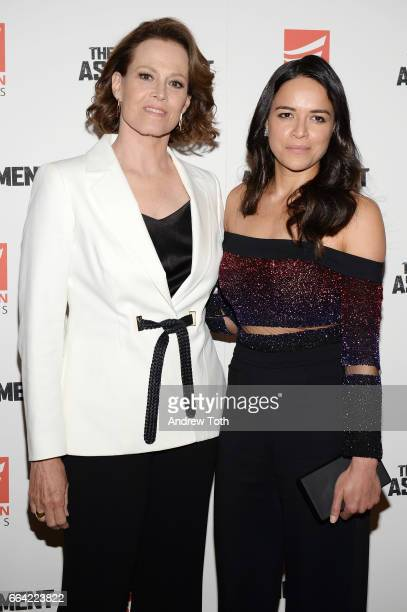 Actors Sigourney Weaver and Michelle Rodriguez attend 'The Assignment' screening at the Whitby Hotel on April 3 2017 in New York City