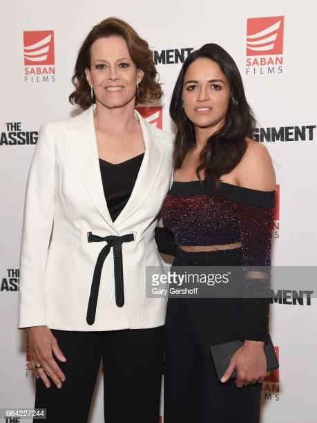 Actors Sigourney Weaver and Michelle Rodriguez attend 'The Assignment' New York screening at the Whitby Hotel on April 3 2017 in New York City