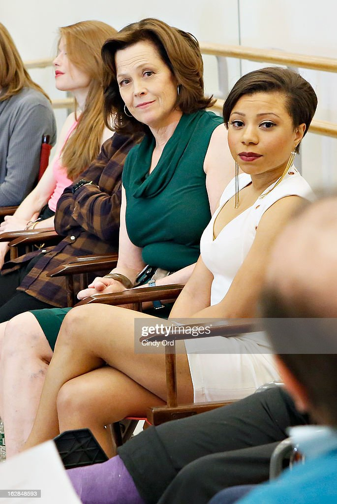 Actors <a gi-track='captionPersonalityLinkClicked' href=/galleries/search?phrase=Sigourney+Weaver&family=editorial&specificpeople=201647 ng-click='$event.stopPropagation()'>Sigourney Weaver</a> and Shalita Grant attend 'Vanya And Sonia And Masha And Spike' Broadway Press Preview at The New 42nd Street Studios on February 28, 2013 in New York City.