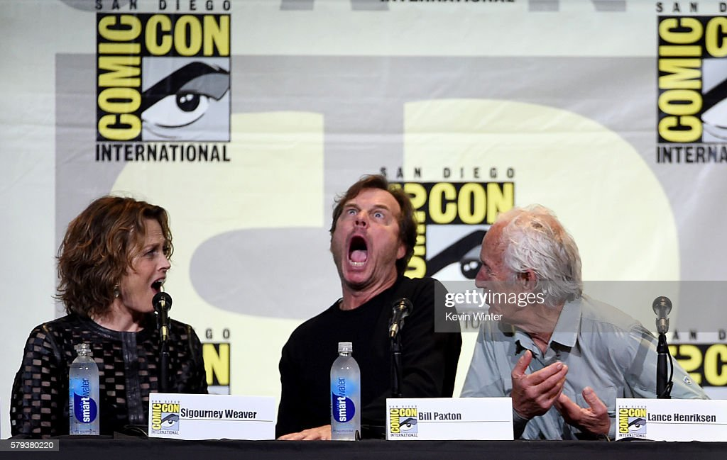 Actors Sigourney Weaver Bill Paxton and Lance Henriksen attend the 'Aliens 30th Anniversary' panel during ComicCon International 2016 at San Diego...