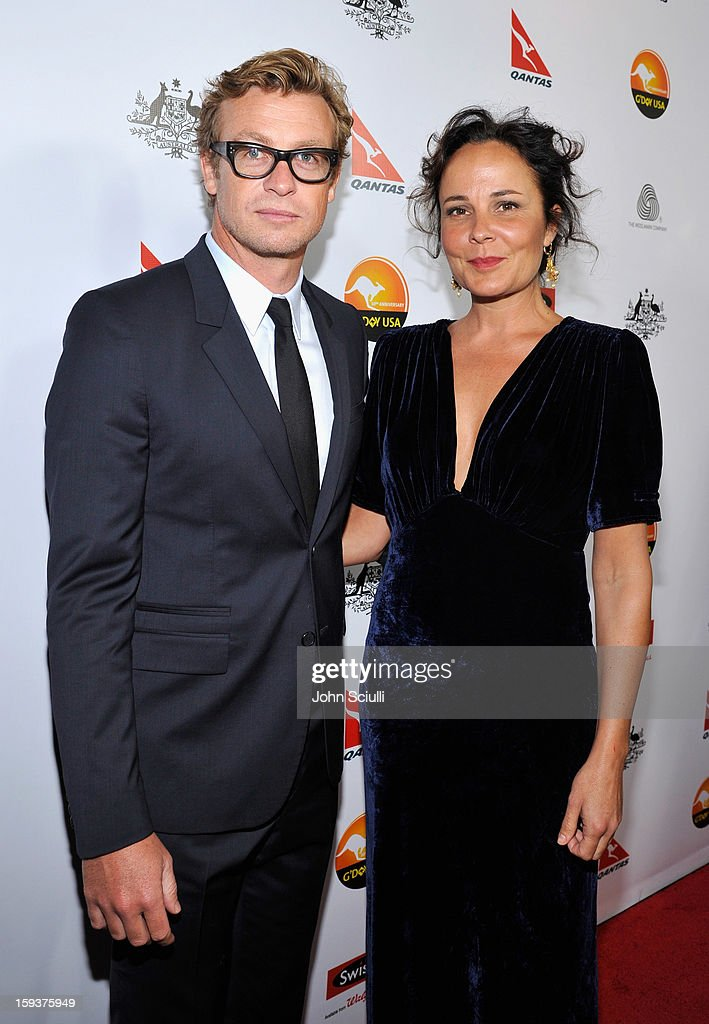 Actors Simon Baker and Rebecca Rigg arrive at the 2013 G'Day USA Los Angeles Black Tie Gala at JW Marriott Los Angeles at L.A. LIVE on January 12, 2013 in Los Angeles, California.